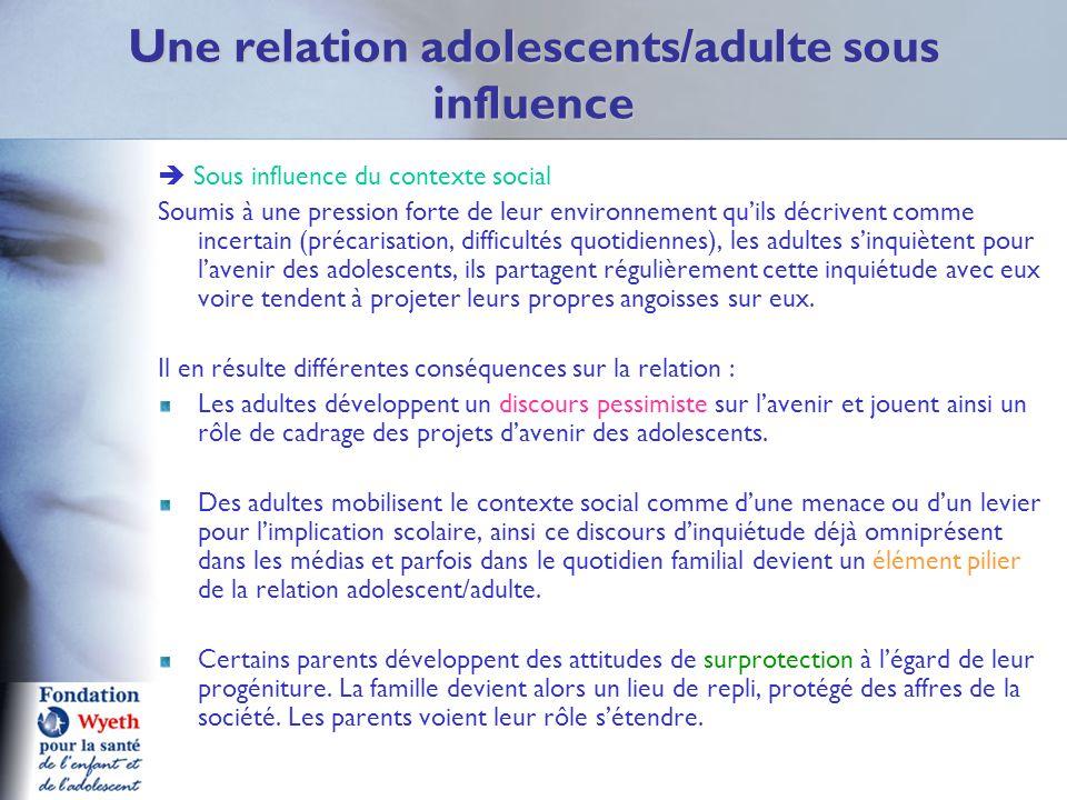 Une relation adolescents/adulte sous influence Sous influence du contexte social Soumis à une pression forte de leur environnement quils décrivent com
