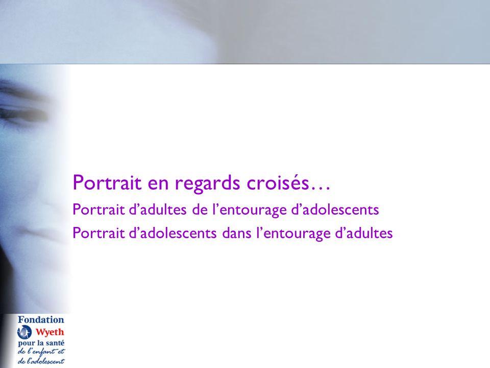 Portrait en regards croisés… Portrait dadultes de lentourage dadolescents Portrait dadolescents dans lentourage dadultes