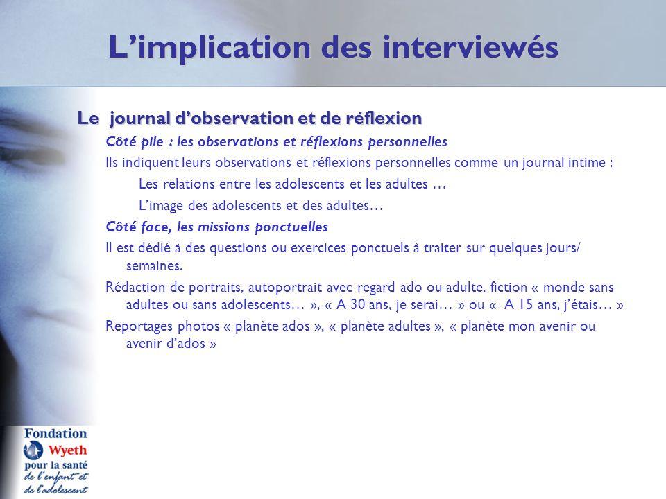 Limplication des interviewés Le journal dobservation et de réflexion Le journal dobservation et de réflexion Côté pile : les observations et réflexion