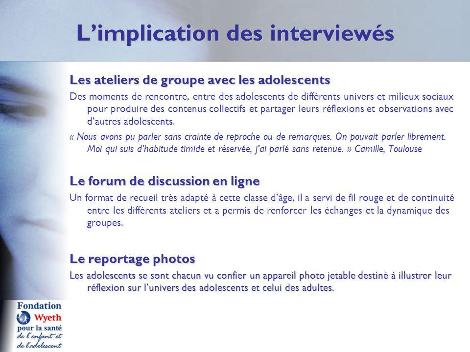 Limplication des interviewés Les ateliers de groupe avec les adolescents Des moments de rencontre, entre des adolescents de différents univers et mili