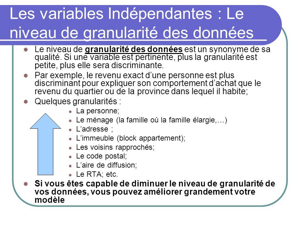 Les variables Indépendantes : Le niveau de granularité des données Le niveau de granularité des données est un synonyme de sa qualité. Si une variable