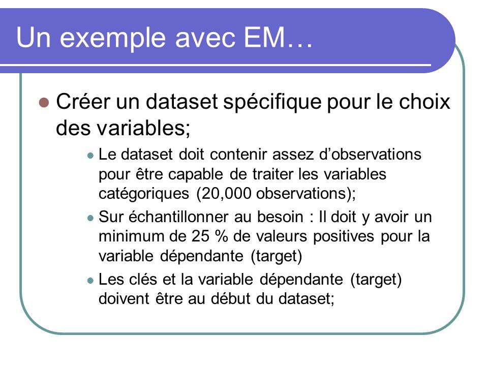 Un exemple avec EM… Créer un dataset spécifique pour le choix des variables; Le dataset doit contenir assez dobservations pour être capable de traiter