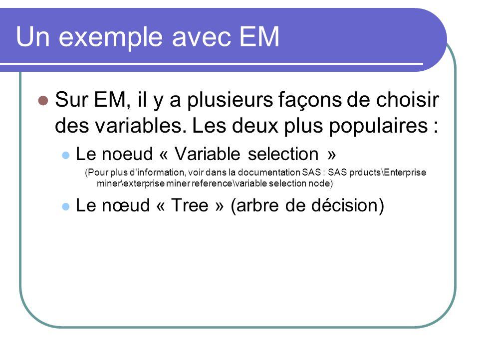 Un exemple avec EM Sur EM, il y a plusieurs façons de choisir des variables. Les deux plus populaires : Le noeud « Variable selection » (Pour plus din