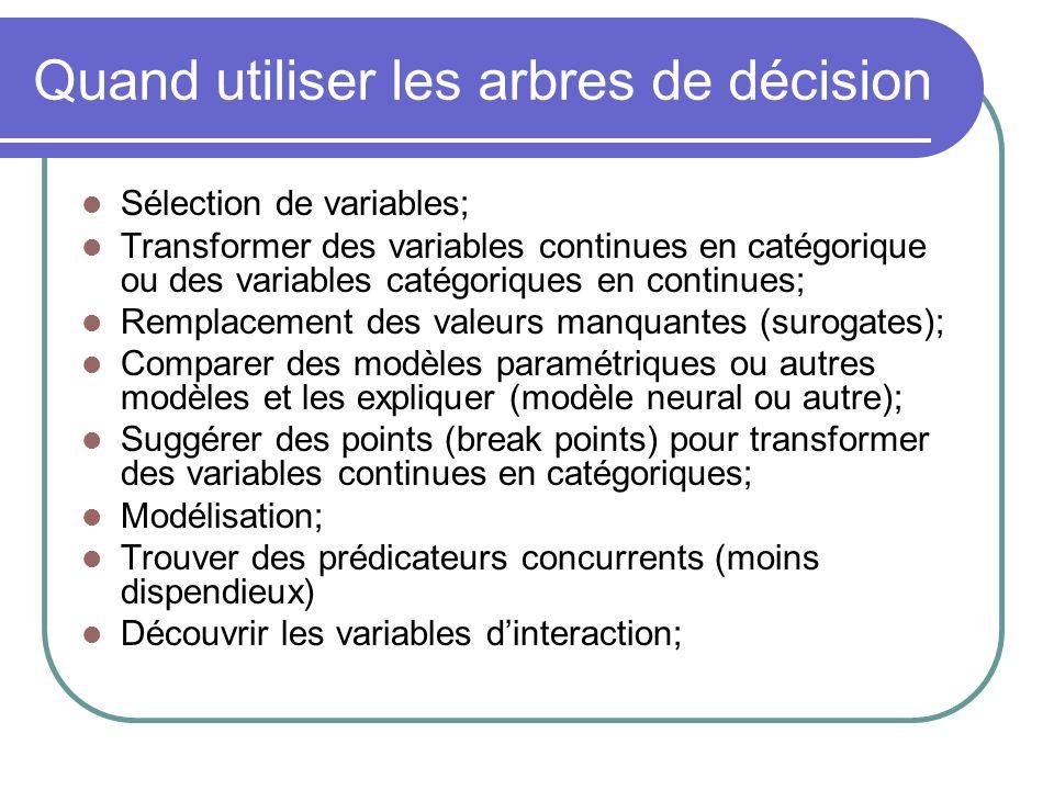 Quand utiliser les arbres de décision Sélection de variables; Transformer des variables continues en catégorique ou des variables catégoriques en cont