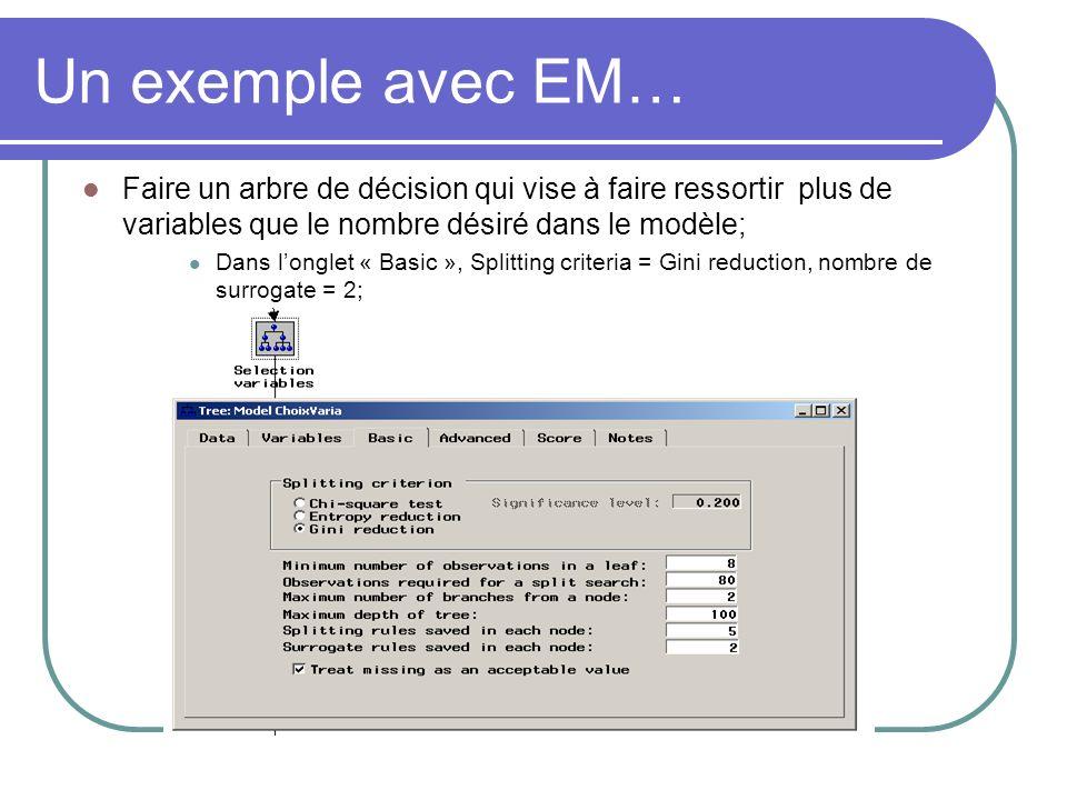 Faire un arbre de décision qui vise à faire ressortir plus de variables que le nombre désiré dans le modèle; Dans longlet « Basic », Splitting criteri