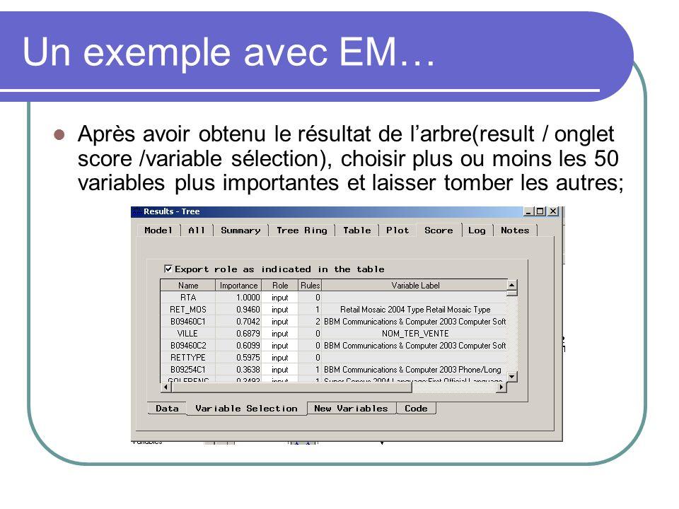 Après avoir obtenu le résultat de larbre(result / onglet score /variable sélection), choisir plus ou moins les 50 variables plus importantes et laisse