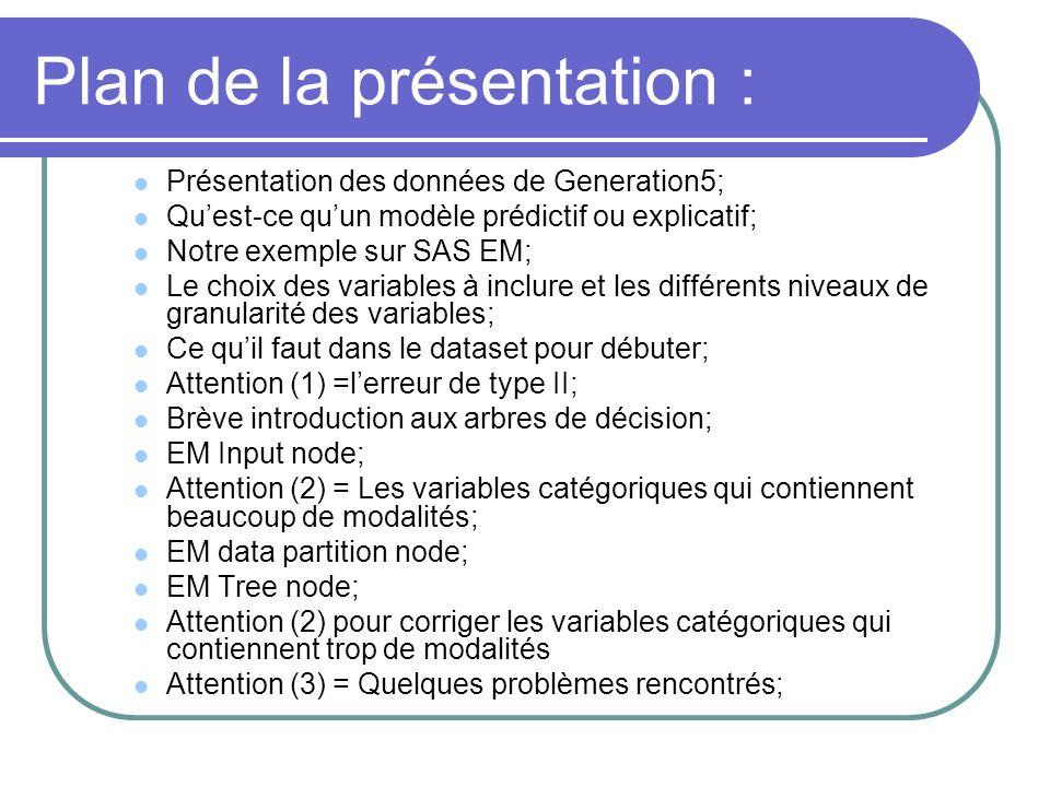 Présentation des données de Generation5; Quest-ce quun modèle prédictif ou explicatif; Notre exemple sur SAS EM; Le choix des variables à inclure et l
