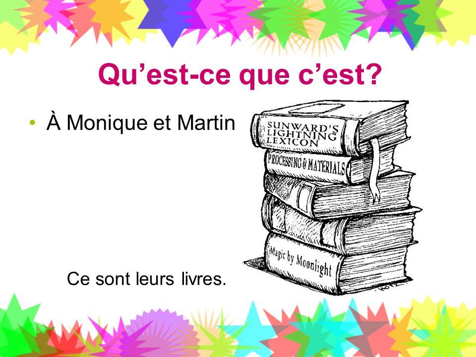Quest-ce que cest? À Monique et Martin Ce sont leurs livres.
