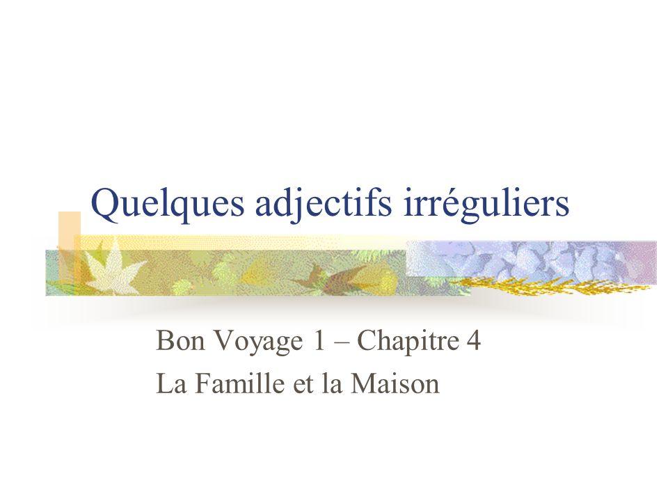 Quelques adjectifs irréguliers Bon Voyage 1 – Chapitre 4 La Famille et la Maison