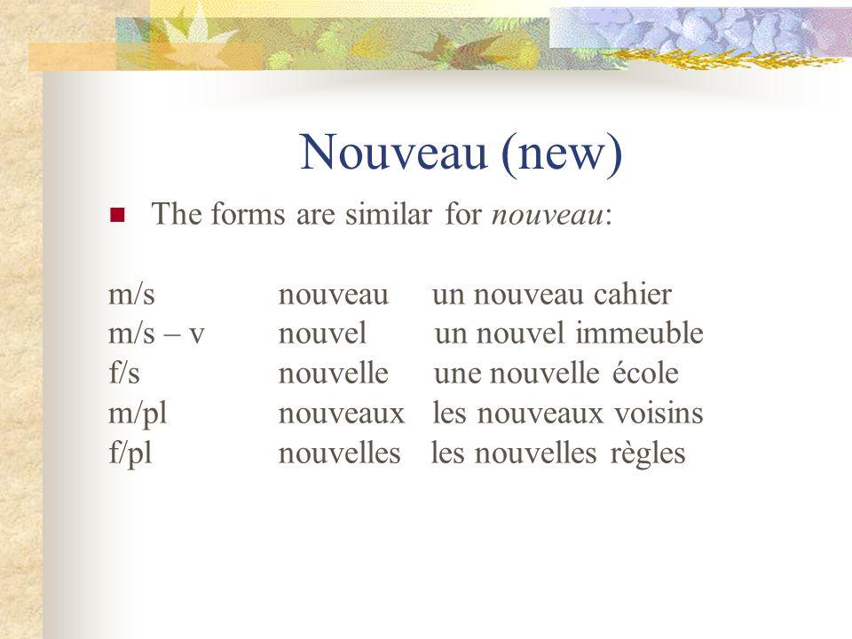Nouveau (new) The forms are similar for nouveau: m/snouveau un nouveau cahier m/s – vnouvel un nouvel immeuble f/snouvelle une nouvelle école m/plnouveaux les nouveaux voisins f/plnouvelles les nouvelles règles