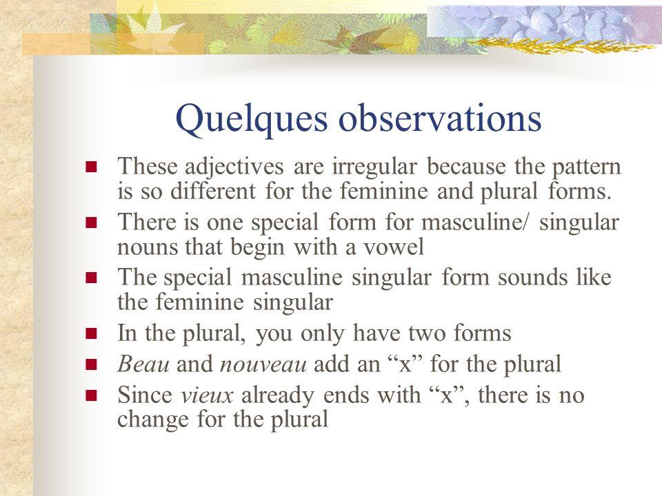 Pratiquons – Lets practice.