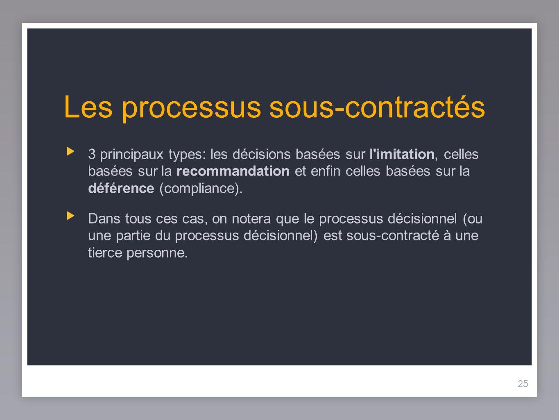 25 Les processus sous-contractés 3 principaux types: les décisions basées sur l imitation, celles basées sur la recommandation et enfin celles basées sur la déférence (compliance).
