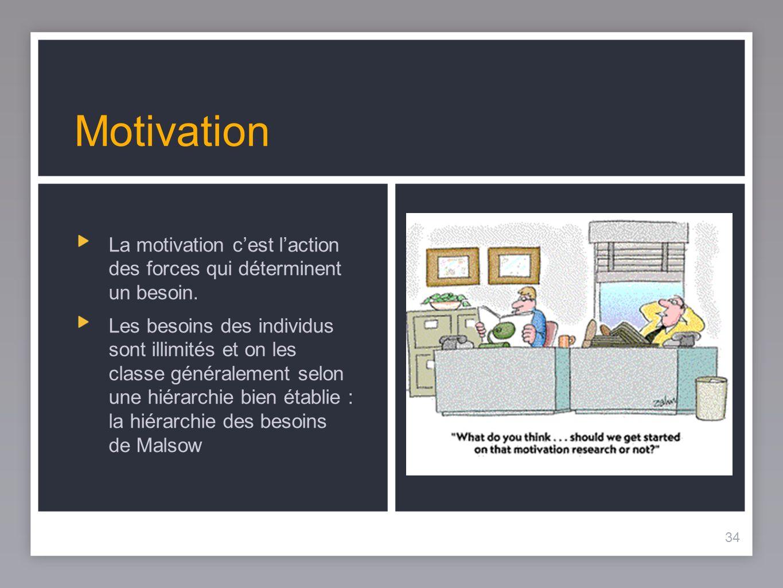 34 Motivation La motivation cest laction des forces qui déterminent un besoin.