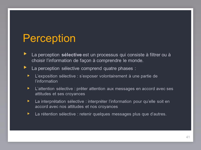 41 Perception 41 La perception sélective est un processus qui consiste à filtrer ou à choisir linformation de façon à comprendre le monde.