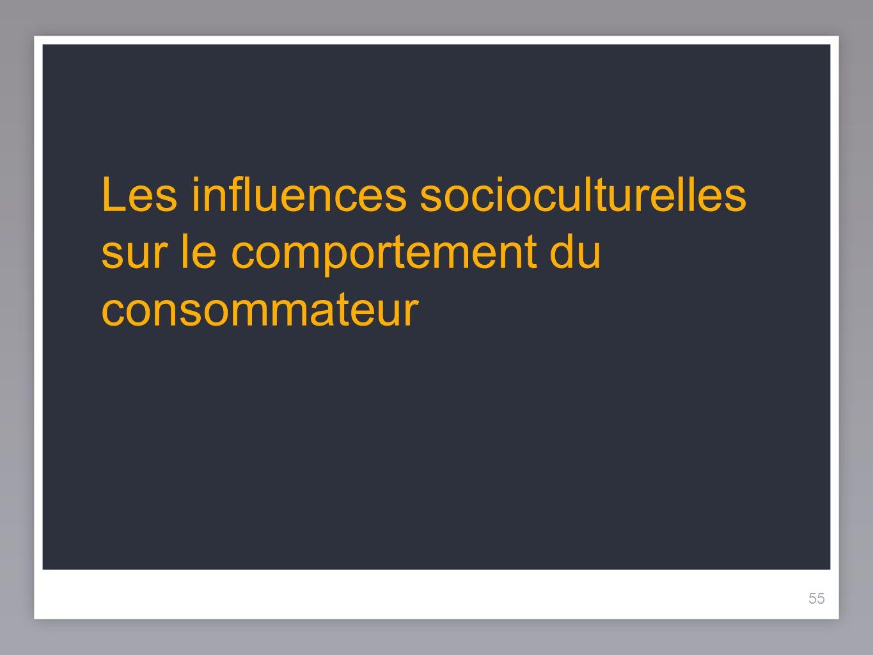 55 Les influences socioculturelles sur le comportement du consommateur 55