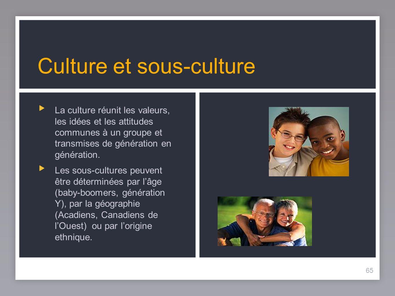 65 Culture et sous-culture La culture réunit les valeurs, les idées et les attitudes communes à un groupe et transmises de génération en génération.