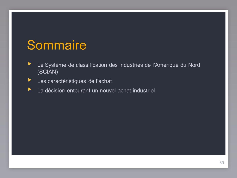 69 Sommaire 69 Le Système de classification des industries de lAmérique du Nord (SCIAN) Les caractéristiques de lachat La décision entourant un nouvel achat industriel