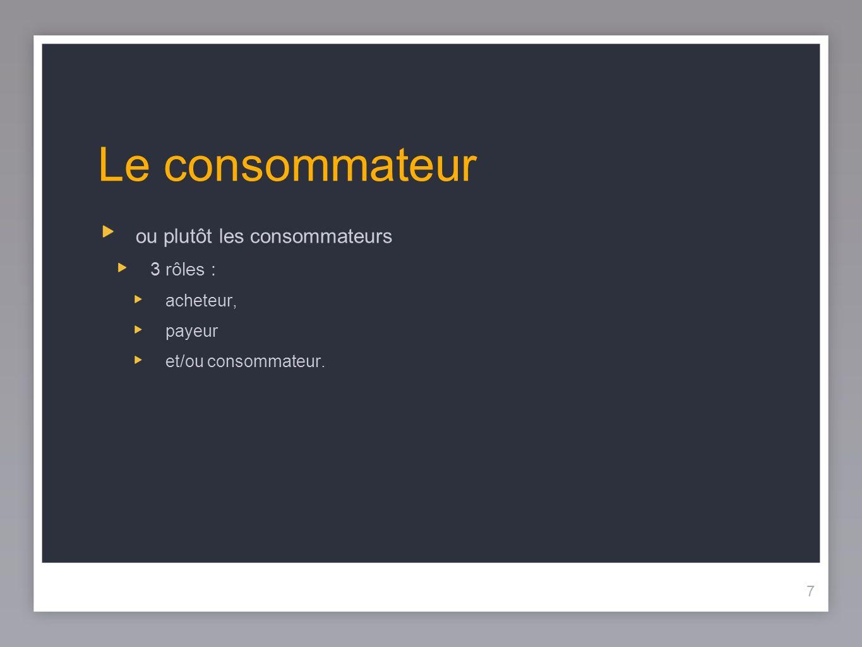 7 Le consommateur 7 ou plutôt les consommateurs 3 rôles : acheteur, payeur et/ou consommateur.