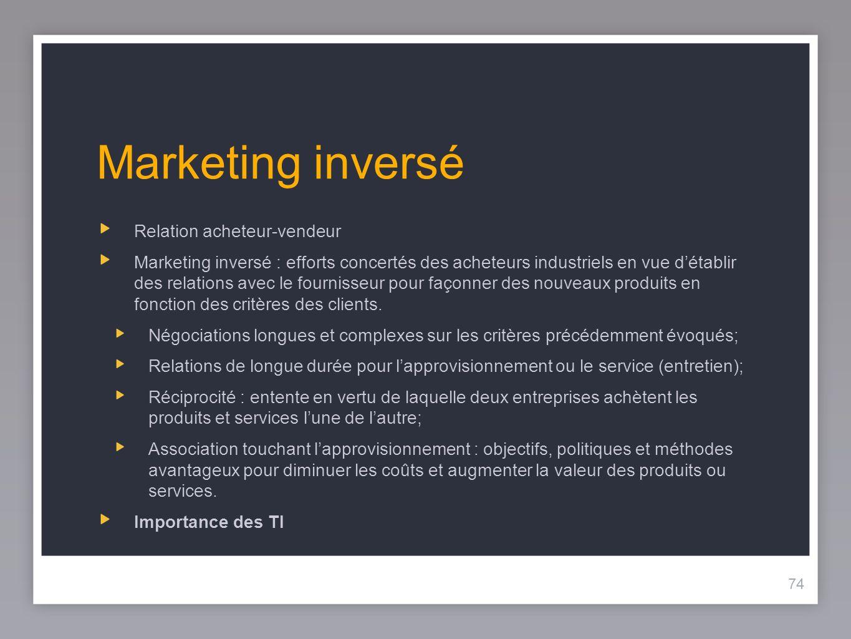 74 Marketing inversé Relation acheteur-vendeur Marketing inversé : efforts concertés des acheteurs industriels en vue détablir des relations avec le fournisseur pour façonner des nouveaux produits en fonction des critères des clients.
