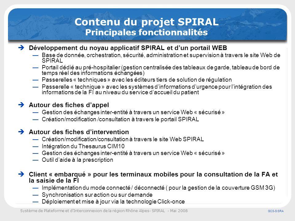 Système de Plateforme et dInterconnexion de la région Rhône Alpes- SPIRAL - Mai 2008 GCS-SISRA Contenu du projet SPIRAL Principales fonctionnalités Dé