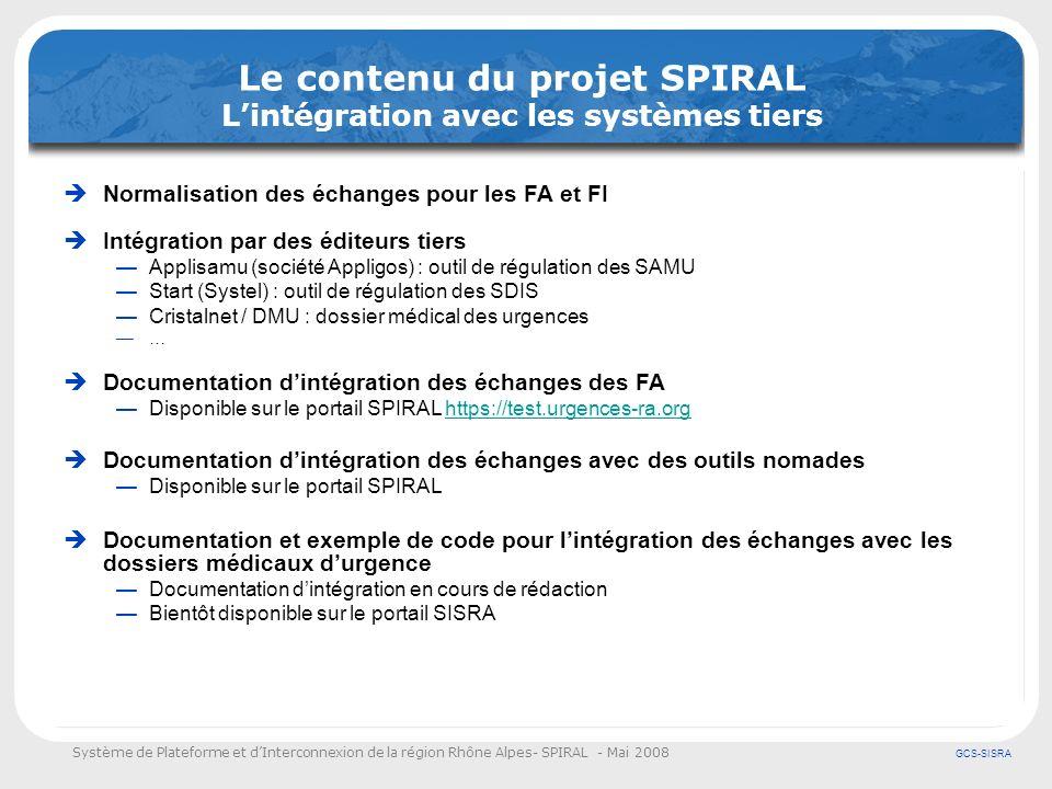 Système de Plateforme et dInterconnexion de la région Rhône Alpes- SPIRAL - Mai 2008 GCS-SISRA Le contenu du projet SPIRAL Lintégration avec les systè