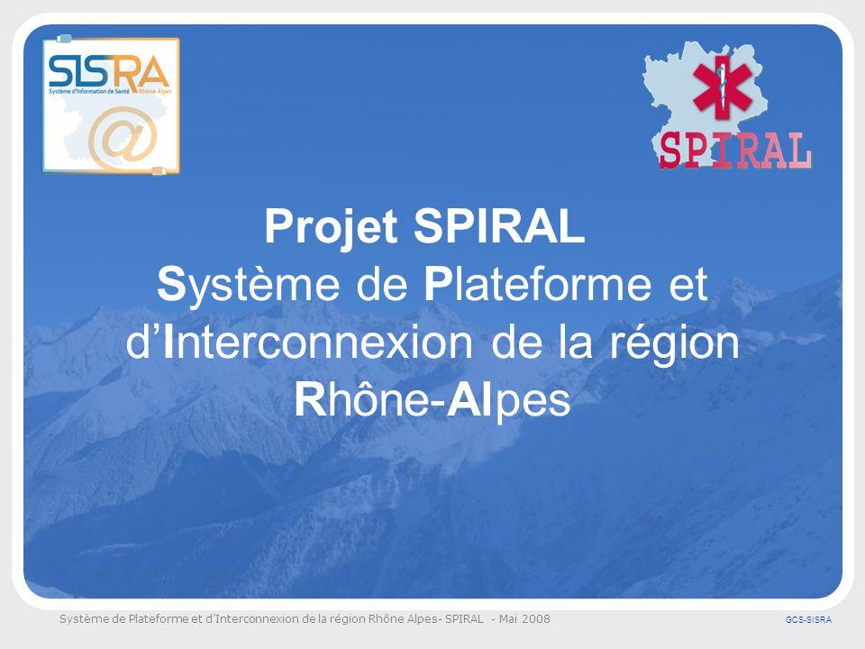 Système de Plateforme et dInterconnexion de la région Rhône Alpes- SPIRAL - Mai 2008 GCS-SISRA Introduction Lurgence pré-hospitalière repose sur une organisation originale et complexe.