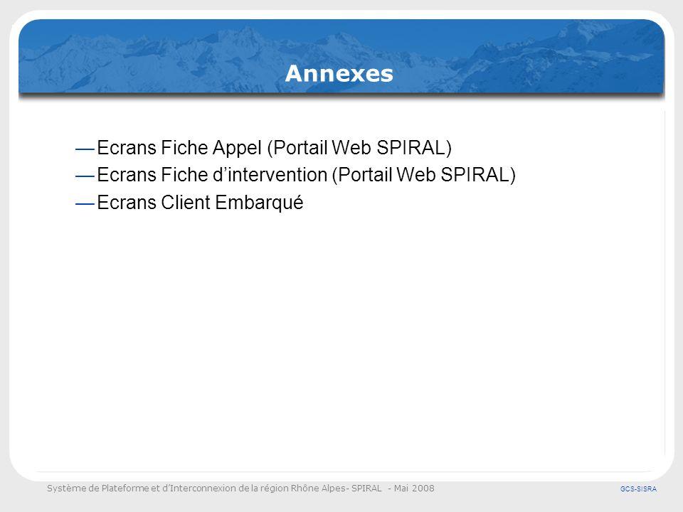 Système de Plateforme et dInterconnexion de la région Rhône Alpes- SPIRAL - Mai 2008 GCS-SISRA Annexes Ecrans Fiche Appel (Portail Web SPIRAL) Ecrans