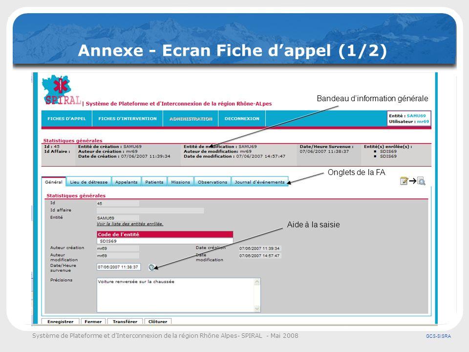 Système de Plateforme et dInterconnexion de la région Rhône Alpes- SPIRAL - Mai 2008 GCS-SISRA Annexe - Ecran Fiche dappel (1/2) Aide à la saisie Band