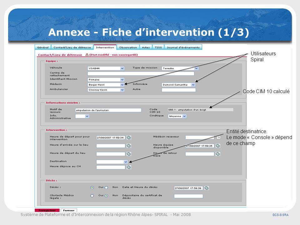 Système de Plateforme et dInterconnexion de la région Rhône Alpes- SPIRAL - Mai 2008 GCS-SISRA Annexe - Fiche dintervention (1/3) Code CIM 10 calculé