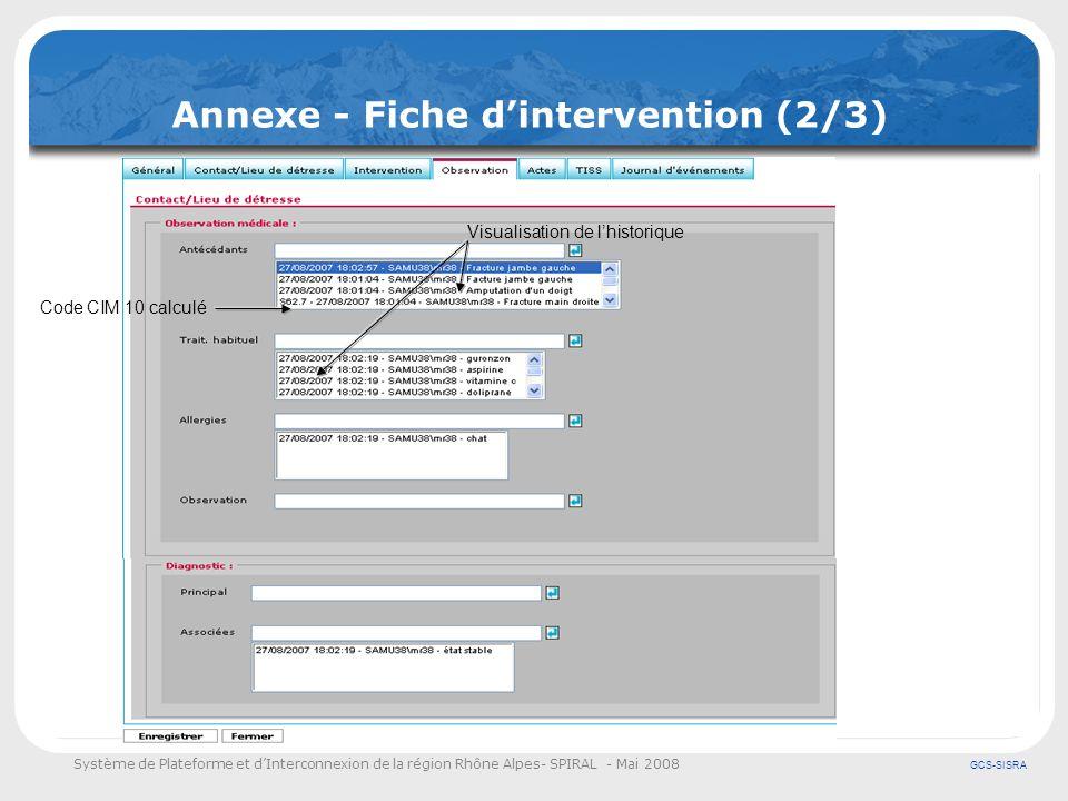 Système de Plateforme et dInterconnexion de la région Rhône Alpes- SPIRAL - Mai 2008 GCS-SISRA Annexe - Fiche dintervention (2/3) Code CIM 10 calculé