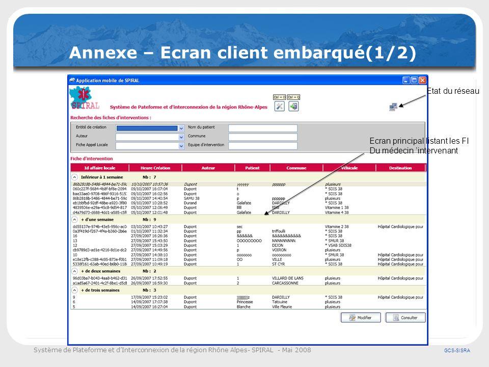 Système de Plateforme et dInterconnexion de la région Rhône Alpes- SPIRAL - Mai 2008 GCS-SISRA Annexe – Ecran client embarqué(1/2) Ecran principal lis