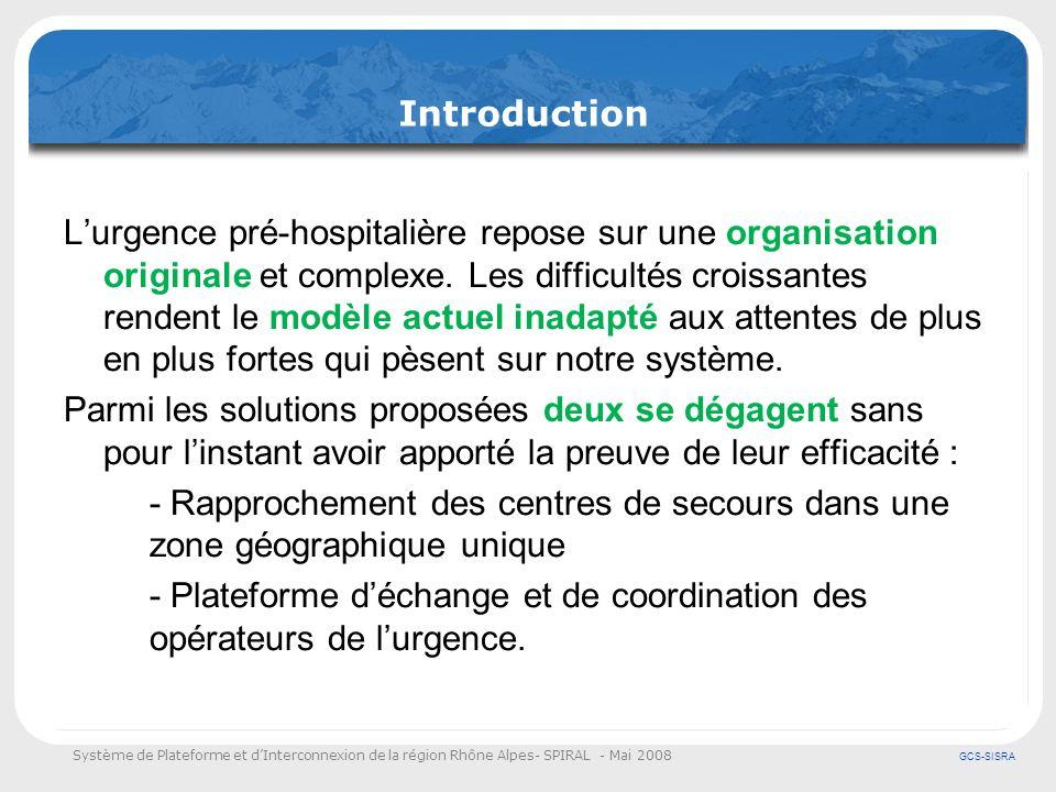 Système de Plateforme et dInterconnexion de la région Rhône Alpes- SPIRAL - Mai 2008 GCS-SISRA Introduction Lurgence pré-hospitalière repose sur une o