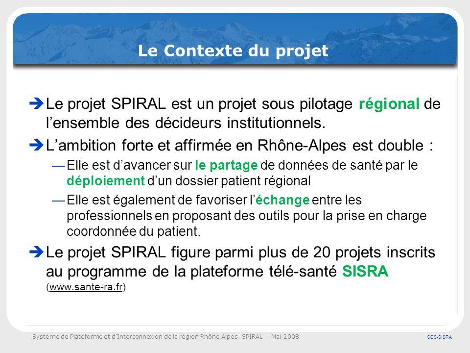 Système de Plateforme et dInterconnexion de la région Rhône Alpes- SPIRAL - Mai 2008 GCS-SISRA Le contexte du projet Les principes directeurs qui sous tendent la démarche régionale sont depuis lorigine un facteur de transparence et dadhésion sur la région : Principe « politique » de non invasivité / systèmes existants (SAMU, SDIS, Ambulanciers…) Principes techniques Normalisation des échanges et dindustrialisation Réutilisation ou mutualisation de la solution et des composants Principe de cohérence par lintégration à la démarche SISRA Principe dengagement par le suivi déploiement et la mise en œuvre