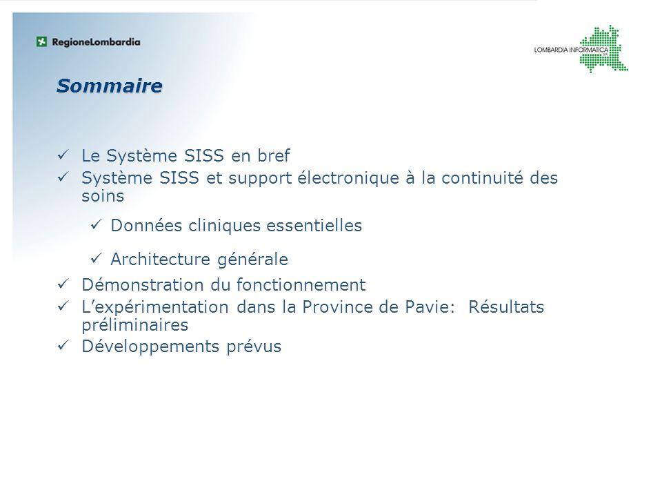 Sommaire Le Système SISS en bref Système SISS et support électronique à la continuité des soins Données cliniques essentielles Architecture générale D