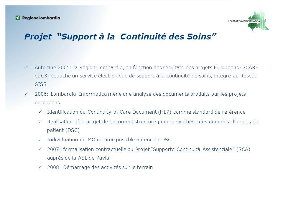 Projet Support à la Continuité des Soins Automne 2005: la Région Lombardie, en fonction des résultats des projets Européens C-CARE et C3, ébauche un s