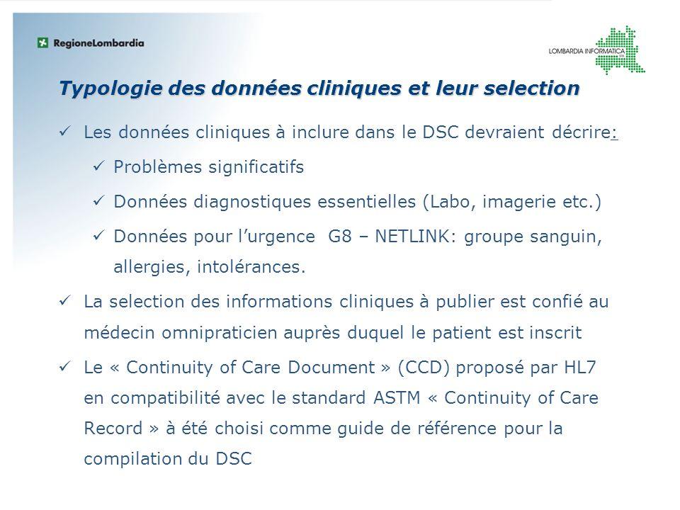 Typologie des données cliniques et leur selection Les données cliniques à inclure dans le DSC devraient décrire: Problèmes significatifs Données diagn