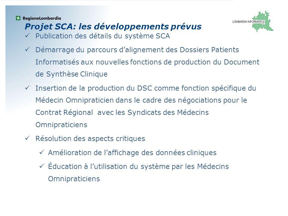Projet SCA: les développements prévus Publication des détails du système SCA Démarrage du parcours dalignement des Dossiers Patients Informatisés aux