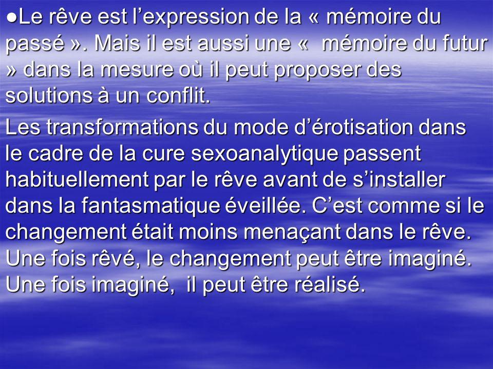 Le rêve est lexpression de la « mémoire du passé ». Mais il est aussi une « mémoire du futur » dans la mesure où il peut proposer des solutions à un c