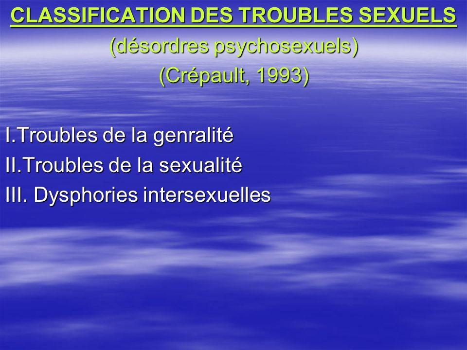CLASSIFICATION DES TROUBLES SEXUELS (désordres psychosexuels) (Crépault, 1993) I.Troubles de la genralité II.Troubles de la sexualité III. Dysphories