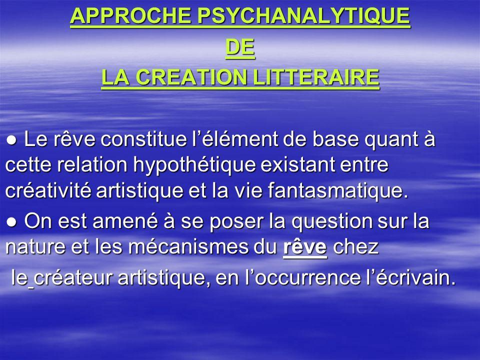 APPROCHE PSYCHANALYTIQUE DE LA CREATION LITTERAIRE Le rêve constitue lélément de base quant à cette relation hypothétique existant entre créativité artistique et la vie fantasmatique.