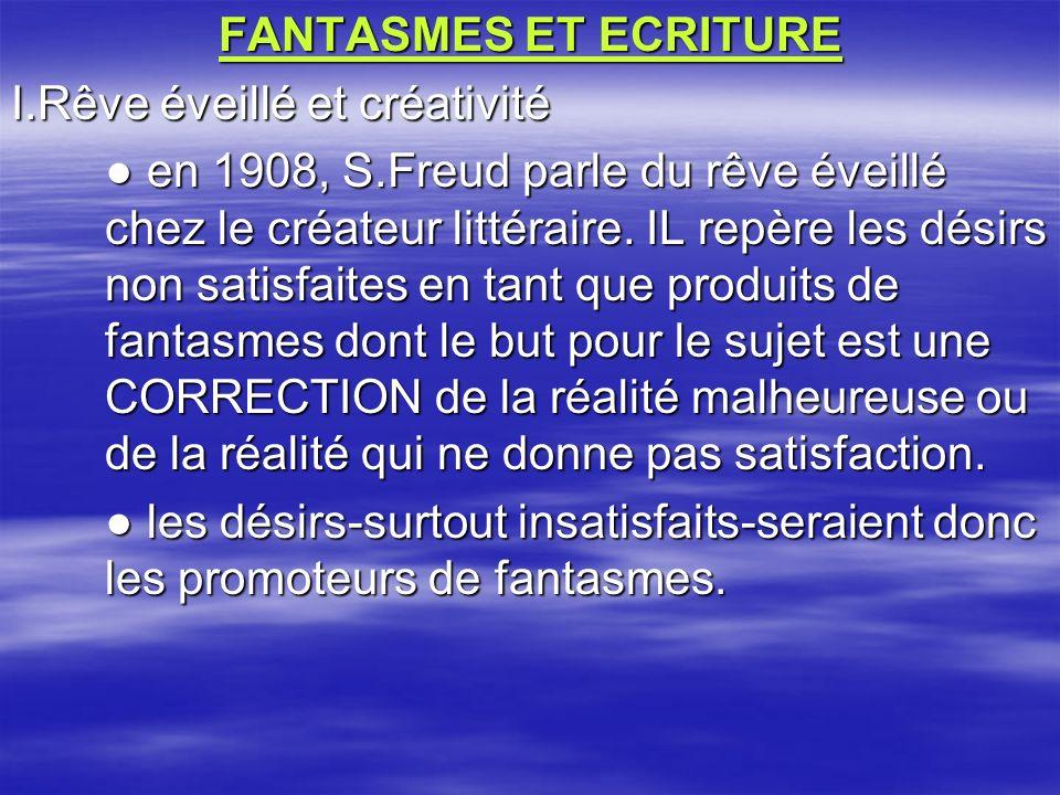 FANTASMES ET ECRITURE I.Rêve éveillé et créativité en 1908, S.Freud parle du rêve éveillé chez le créateur littéraire. IL repère les désirs non satisf