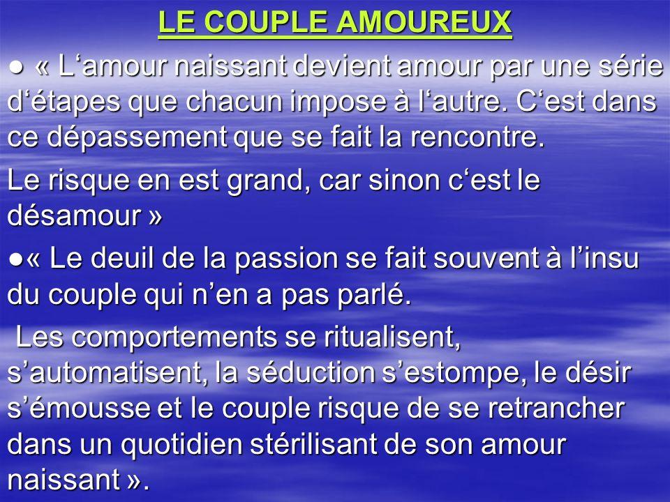 LE COUPLE AMOUREUX « Lamour naissant devient amour par une série détapes que chacun impose à lautre. Cest dans ce dépassement que se fait la rencontre