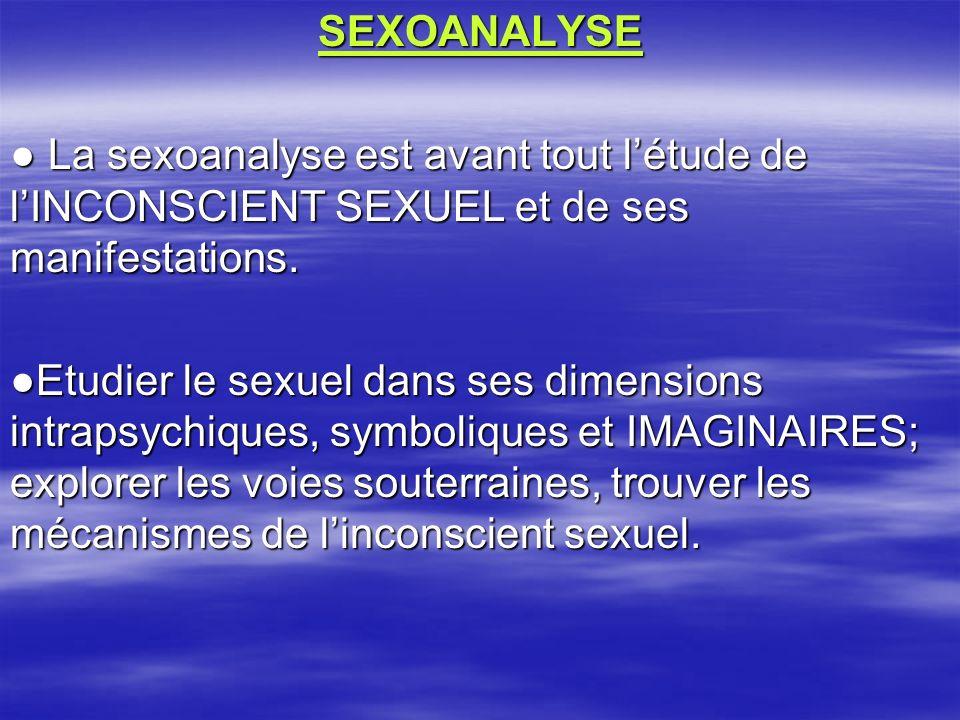 SEXOANALYSE La sexoanalyse est avant tout létude de lINCONSCIENT SEXUEL et de ses manifestations. La sexoanalyse est avant tout létude de lINCONSCIENT