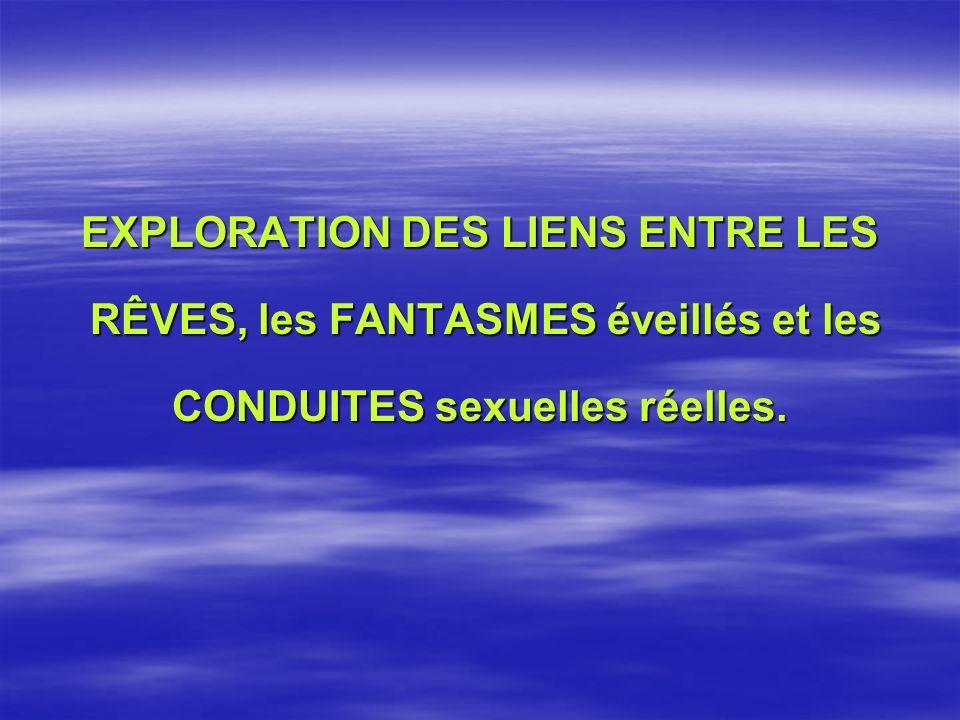 EXPLORATION DES LIENS ENTRE LES RÊVES, les FANTASMES éveillés et les RÊVES, les FANTASMES éveillés et les CONDUITES sexuelles réelles.