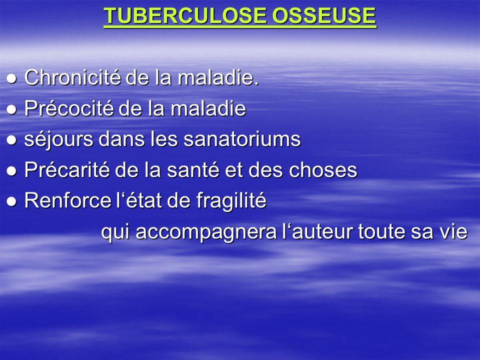 TUBERCULOSE OSSEUSE Chronicité de la maladie. Chronicité de la maladie. Précocité de la maladie Précocité de la maladie séjours dans les sanatoriums s