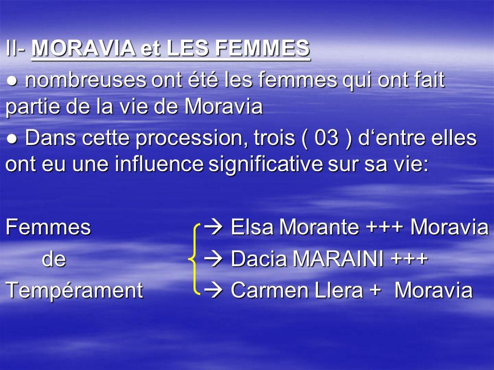 II- MORAVIA et LES FEMMES nombreuses ont été les femmes qui ont fait partie de la vie de Moravia nombreuses ont été les femmes qui ont fait partie de la vie de Moravia Dans cette procession, trois ( 03 ) dentre elles ont eu une influence significative sur sa vie: Dans cette procession, trois ( 03 ) dentre elles ont eu une influence significative sur sa vie: Femmes Elsa Morante +++ Moravia de Dacia MARAINI +++ de Dacia MARAINI +++ Tempérament Carmen Llera + Moravia