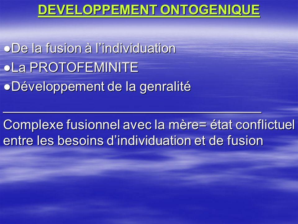 DEVELOPPEMENT ONTOGENIQUE De la fusion à lindividuation La PROTOFEMINITE Développement de la genralité ___________________________________ Complexe fusionnel avec la mère= état conflictuel entre les besoins dindividuation et de fusion