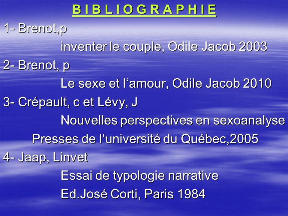 B I B L I O G R A P H I E 1- Brenot,p inventer le couple, Odile Jacob 2003 2- Brenot, p Le sexe et lamour, Odile Jacob 2010 3- Crépault, c et Lévy, J
