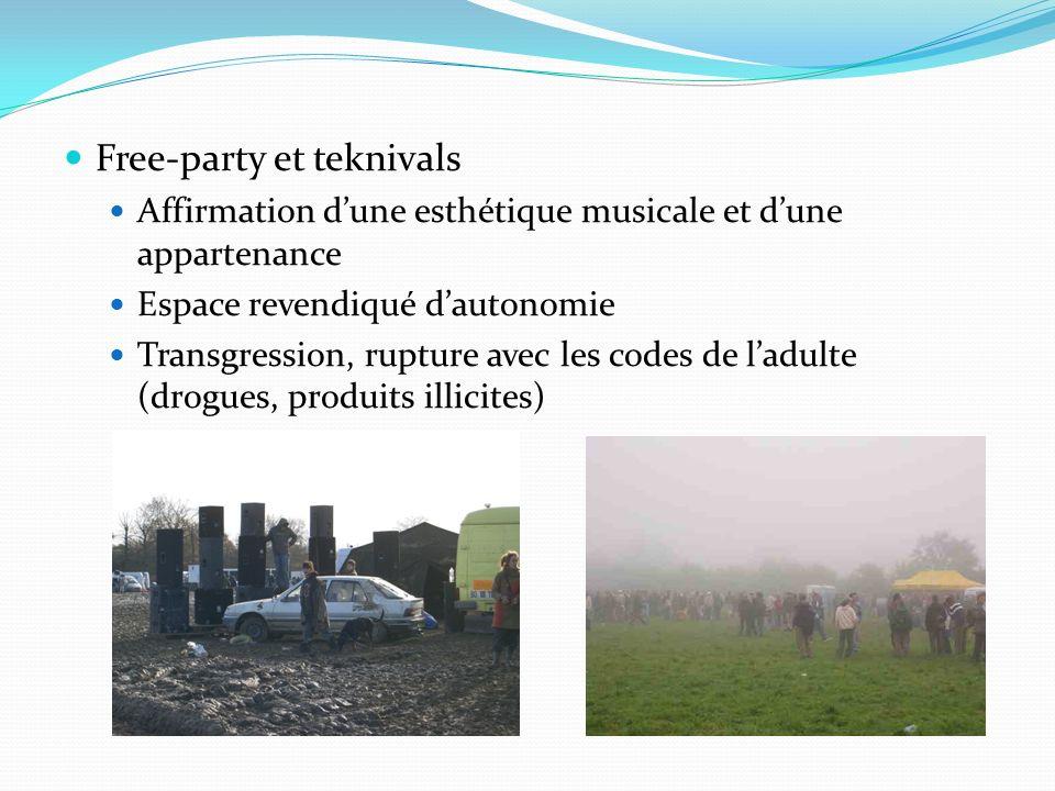 Free-party et teknivals Affirmation dune esthétique musicale et dune appartenance Espace revendiqué dautonomie Transgression, rupture avec les codes d