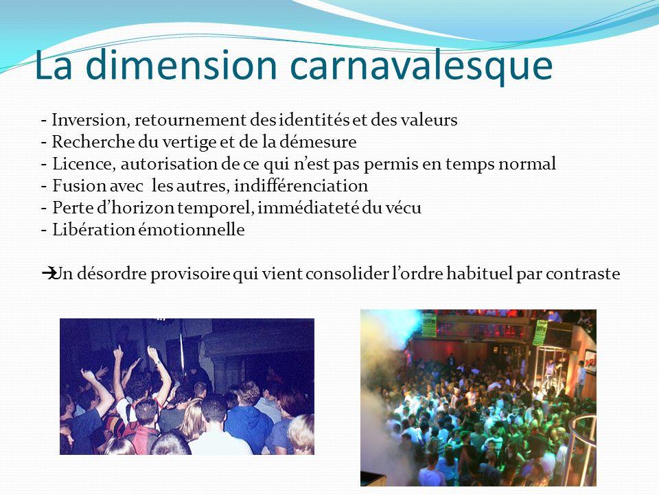 La dimension carnavalesque - Inversion, retournement des identités et des valeurs - Recherche du vertige et de la démesure - Licence, autorisation de